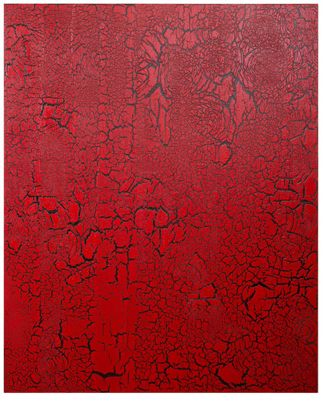 Ed Moses, Red Over Black, 2012. Courtesy of Patrick Painter Inc.