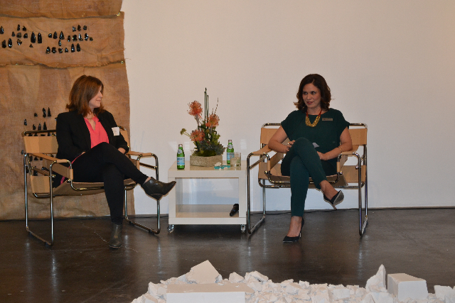 Miki Garcia interviewing guest curator Laura Fried