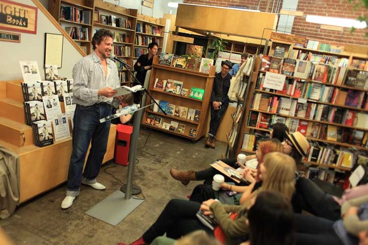Richard Hell reading at Skylight Books in Los Feliz, photo by Hank Cherry