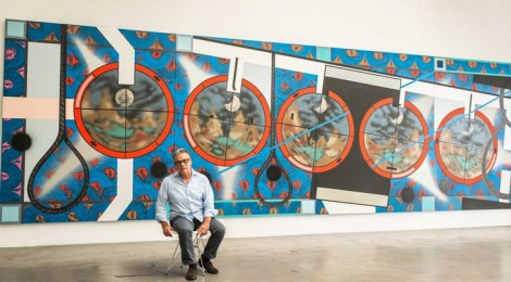 Lari Pittman in front of his painting: Flying Carpet With Waning Moon Over a Violent Nation, 2013, Photo by Rainer Hosch.