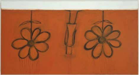 Mira Schor, Underground Garden, 2013, Oil on linen, Courtesy CB1 Gallery