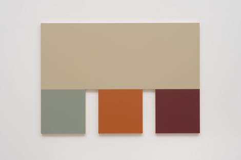 Morgan Fisher, 4 (Silver Gray, Sky Blue, Terra Cotta, Red), 2013.  Courtesy of China Art Objects Galleries Photo by Robert Wedemeyer.