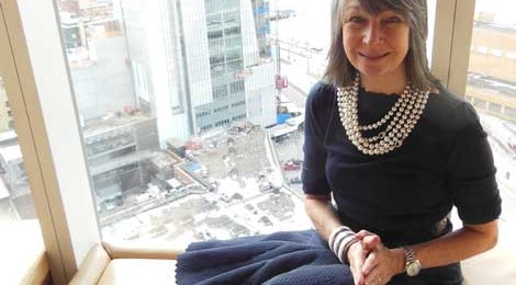 Brooke Garber Neidich in the Boom Boom Room, Standard Hotel at the High Line NYC, looking over the downtown Whitney in progress. photo Robyn Perry
