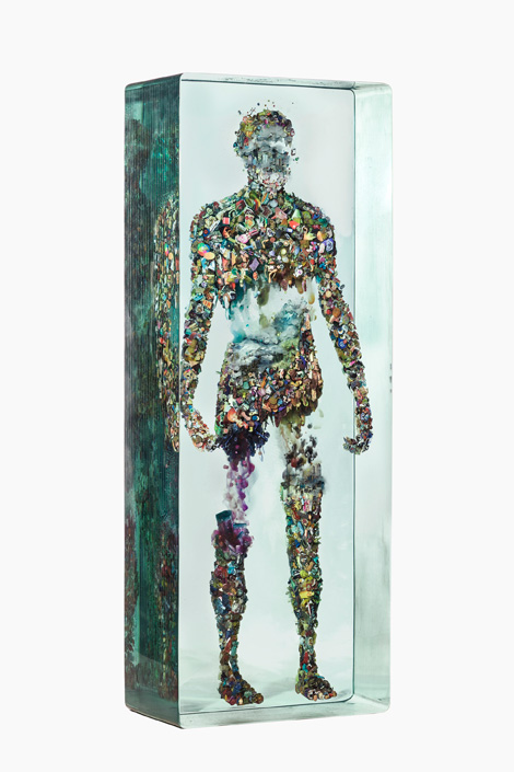 Psychogeopgrahy 48 NO SHADOW 48 Side 2013 72 x 27 x 15 in Dustin Yellin Dustin Yellin