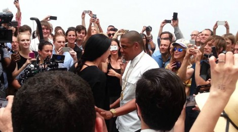Abramovic and Jay Z, center, performance at Pace Gallery, New York, 2013