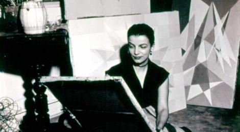 """Lygia Clark (Brazilian, 1920–1988) in her studio, Rio de Janeiro, c. 1950s. Courtesy Associação Cultural """"O Mundo de Lygia Clark,"""" Rio de Janeiro"""