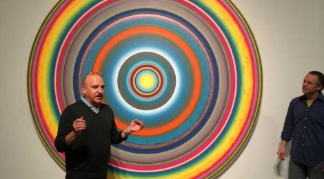 """Edward Goldman with Gary Lang at his exhibit, """"Circles/Words,"""" at Ace Gallery Beverly Hills."""