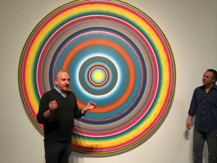 "Edward Goldman with Gary Lang at his exhibit, ""Circles/Words,"" at Ace Gallery Beverly Hills."