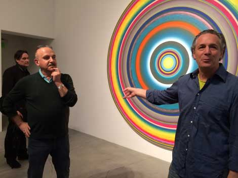 "Goldman with Gary Lang's exhibit, ""Circles / Words"" at Ace Gallery Beverly Hills"