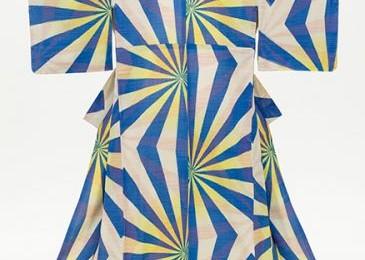 Woman's Kimono with Geometric Pattern  (c.1940) early Shōwa period (1926-89) Silk crepe (omeshi meisen), stencil-printed warp and weft (heiyō-gasuri meisen)