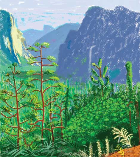 """David Hockney, """"Yosemite I, October 16th 2011"""" iPad Drawing printed on six sheets of paper (71 3/4 x 42 3/4"""" each), mounted on six sheets of Dibond 143 1/2 x 128 1/4"""" overall Exhibition Proof #1 © David Hockney"""