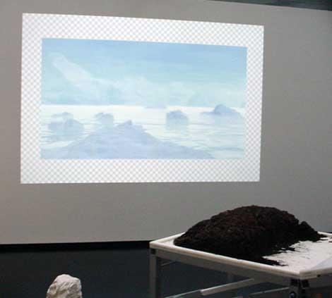 Partial installation view, Manuel Fernandez & Hunter Jonakin (right)