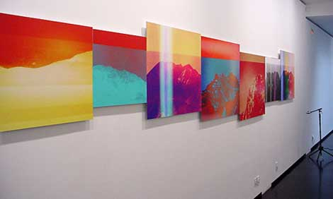 """Penelope Umbrico, """"Mountains, Moving"""" (2012) installation view"""