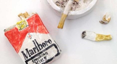 Rose Eken, Installation (Marlboro Cigarettes, Round White Ashtray with Cigarettes, Cigarette Butts)