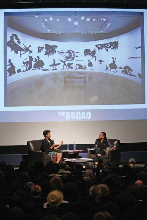 Kara Walker and Ava DuVernay at The Writers Guild Theater Oct. 11, 2014, in Beverly Hills, photo by Ryan Miller/The Broad.