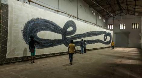 N.S. Harsha's 79-foot painted loop of the cosmos, Punarapi Janaram, Punarapi Maranam, (Again Birth, Again Death), 2013