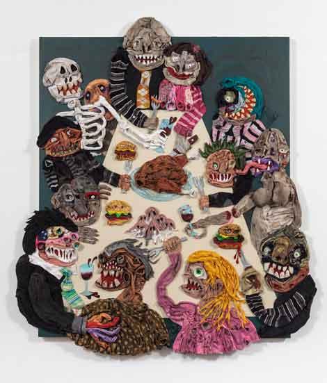 Beast Feast, 2013, acrylic and socks on linen, 81 x 72 inches