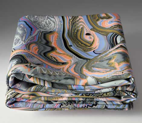 Livingston Folded Painting with Blue Orange and Pink Space Invasion