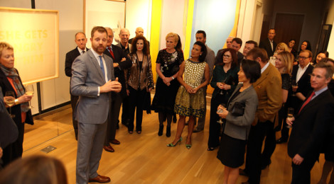 Sotheby's Managing Director Maarten ten Holder introducing Andrea Fiuczynski (center) as West Coast Chairman during the Los Angeles reception featuring highlights from the Spring 2014 sales in New York, March 24, 2014.
