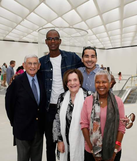 Left to right: Eli Broad, artist Mark Bradford, Edythe Broad, Allan DiCastro and Ilene Norton, images from The Broad's Sky-lit program, 2/15/15, photo by Ryan Miller/Capture Imaging.