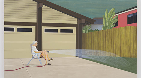 Ed Templeton, Man Waters Lawn, Suburbia, 2014, Acrylic on panel 30 x 47 in (76.2 x 121.29 cm), Courtesy of the artist and Roberts & Tilton, Culver City, California.