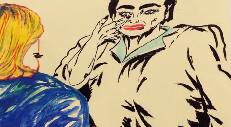 """Raymond Pettibon from """"my bumbling attempt to write a disastrous musical, these illustrations muyst suffice,"""" Regen Projects, Los Angeles April 23 - May 30, 2015."""
