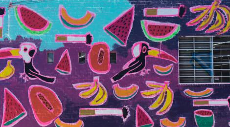 Katherine Bernhardt, Fruit Salad, mural DTLA,  2015
