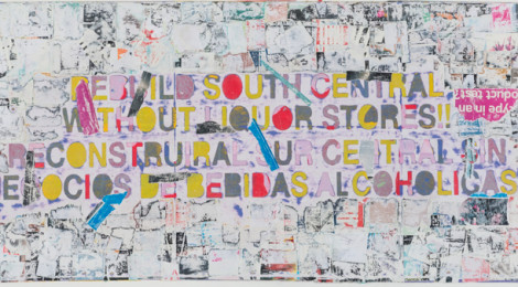 Mark Bradford, Rebuild South Central, 2015. Mixed media on canvas. 43 x 96 in., Courtesy of the artist and Hauser & Wirth. Photo by Joshua White.
