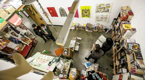 Visitors to the MFA studio of Edie Fake during the USC Roski MFA program open studios event February 7, 2015. Photo by David Sprague.
