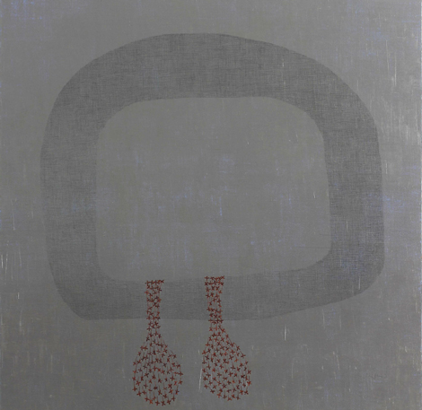Ma-lai 6, Pinaree Sanpitak, 2015 acrylic, pencil, dried flowers on canvas 51 x 51 inches (130 x 130 cm)