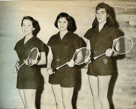Woronov (far right) on badminton team at Packer Institute for Young Women of Brooklyn, 1961.