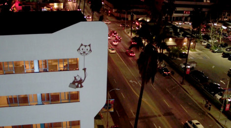 Video Projection on facade of NeueHouse Hollywood