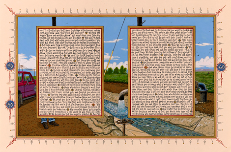 Sandow Birk American Qur'an, Sura 2 B, 2014 Ink and gouache on paper 16 x 24 inches Image courtesy of Catharine Clark Gallery, Koplin del Rio, and P.P.O.W. Copyright: Sandow Birk