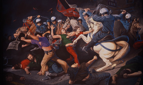 Sandow Birk, Stonewall, June 28, 1969, 1999, oil on canvas, 84 x 126  inches.