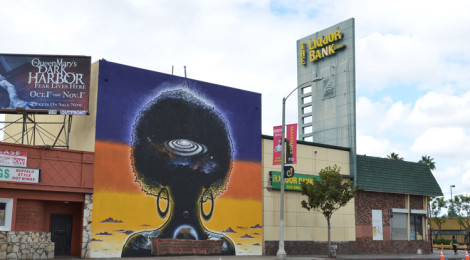 Elixir the Rebirth, mural by Patrick Henry Johnson at Stocker and Crenshaw Streets, Los Angeles. Photo by Meg Madison.