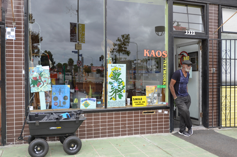Ben Caldwell in front of Kaos, photo by Meg Madison.