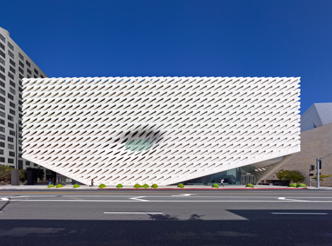 The Broad museum on Grand Avenue in downtown Los Angeles; photo by Benny Chan, courtesy of The Broad and Diller Scofidio + Renfro.