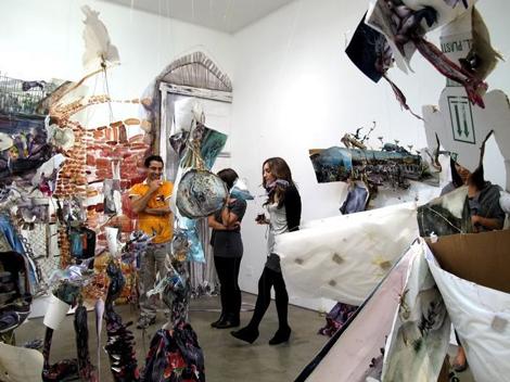 "Shiri Mordechay with installation:  ""Pneuma Pleats,"" 2010."