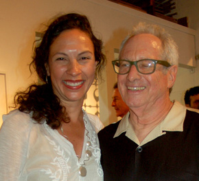 Eleana Del Rio with Robbie Conal at  Koplin Del Rio opening. Photo by Lynda Burdick