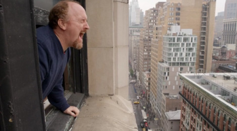 "Scene from Season 4, Episode 8, ""Elevator: Part 4,"" Louie goes to window in therapy session to let loose a primal scream."