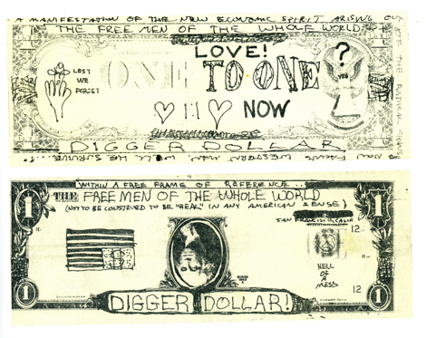 """Digger Dollars,"" printed by Com/co, 1967, dimensions variable, Com/co broadside, March 1967."