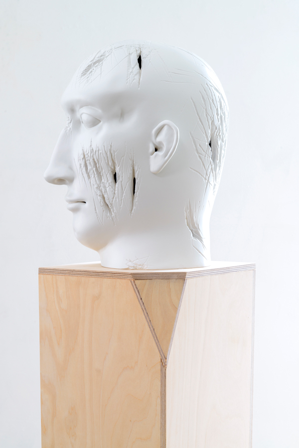 "Tanya Batura, Untitled (side detail), 2015, clay, acrylic, 16 x 12 x 12.5""."