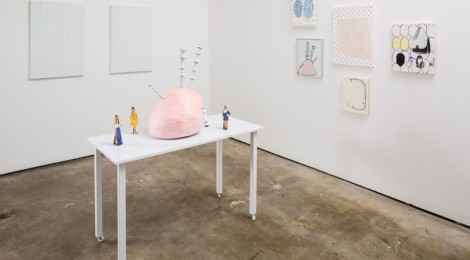 "Meg Cranston, ""Pizza, Bagpipe, Carburetor,"" Installation view, courtesy of the artist and Meliksetian 