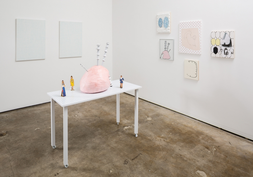 """Meg Cranston, """"Pizza, Bagpipe, Carburetor,"""" Installation view, courtesy of the artist and Meliksetian   Briggs."""