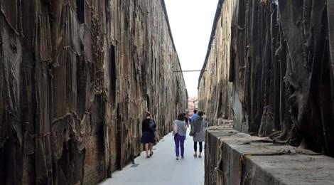 Ibrahim Mahama's massive jute-sack installation for the 2015 Venice Biennale.