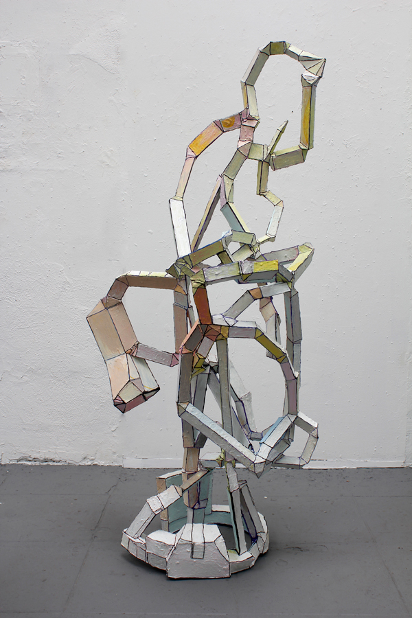 "Maura Bendett, Tall Sculpture, 2013, museum board, acrylic, hot glue, cement, 63 x 27 x 27"", courtesy Edward Cella Art + Architecture."