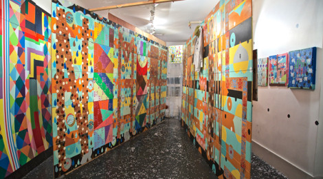 """Installation at LAST Projects gallery by Xara Thustra, """"Queer, Trans, Spaces,"""" photo by  Ilona Berger."""