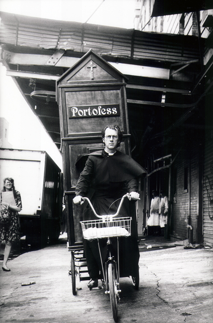 Joey Skaggs as a priest pedals his Portofess, Art of the Prank, Relight Films