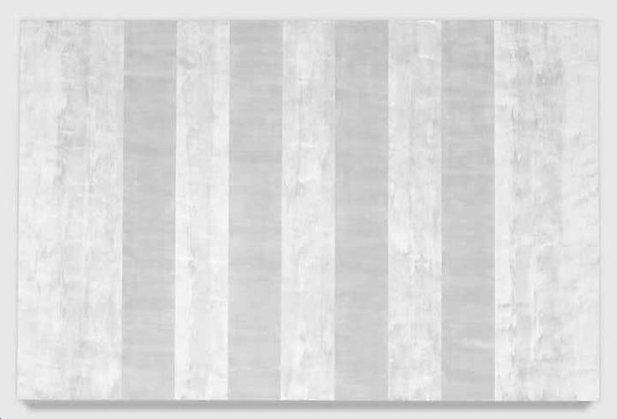 """Untitled (White Inner Band, Beveled)""  (2008) by Mary Corse.  Glass microspheres in acrylic on canvas."