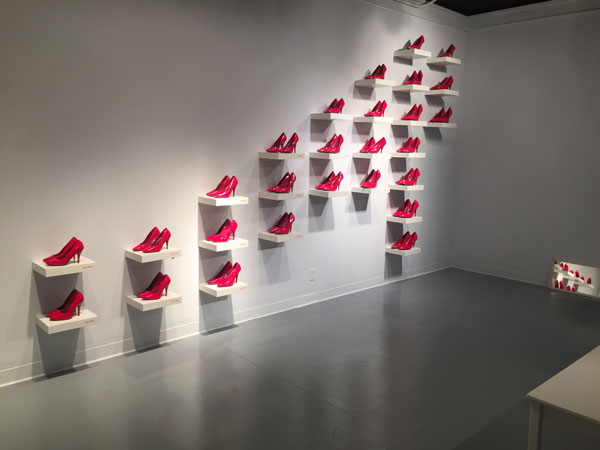 gaulke wall of red shoes Upending Absurdity